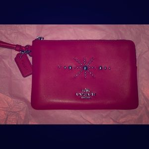 Coach Red/Silver Leather Wristlet